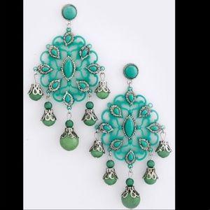Jewelry - Bohemian mint bead acrylic baroque earrings green